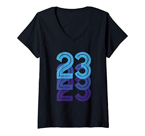 Mujer 23 Número de la Suerte 23 años Edad de Cumpleaños Equipo Dep Camiseta Cuello V