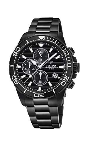 Festina Herren Chronograph Quarz Uhr mit Edelstahl Armband F20365/3