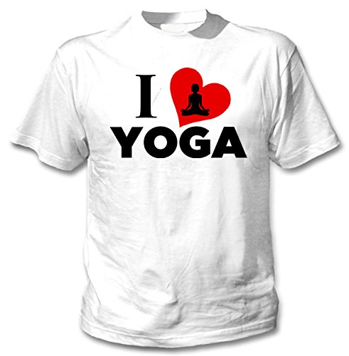 teesquare1st Yoga I Love Yoga Camiseta Blanca para Hombre de Algodon Size Xxxxlarge