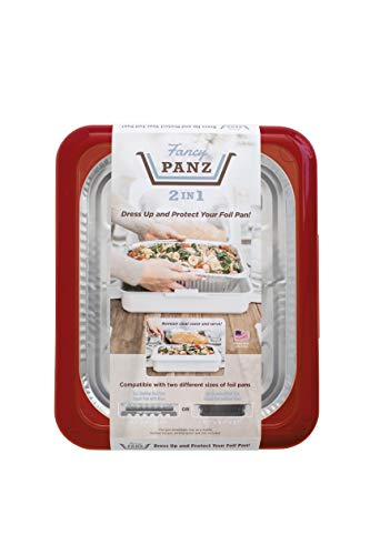 Fancy Panz 2-in-1 USA-Made Portable Casserole Carrier for Shallow and Deep Half Size Foil Steam Pans, Foil Pan and Serving Spoon Included (Red)