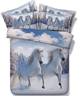 Ammybedding 4 Pcs 3D Horse Comforter Cover Set Twin Size Animal Duvet Cover Set for Kids Luxury Home Decoration 1 Flat Sheet,1 Comforter Cover and 2 Pillow Shams( No Comforter,No Fitted Sheet )