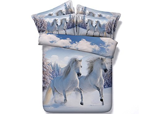 Ammybeddings 5PCs 3D Horse Comforter Sets Twin Size Animal Bedding for Kids Luxury and Soft Horse Duvet Cover Set 1 Flat Sheet 1 Quilt/Duvet Cover 1 White Comforter and 2 Pillow Shams
