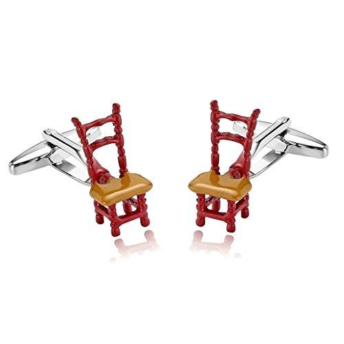 AnazoZ Mode Bijoux en acier inoxydable pour homme 1 paire Boutons de manchette fantaisie Funny Chaise Rouge Motif boutons de manchette pour homme