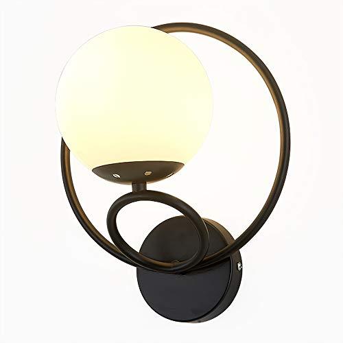 Eco Memos Apliques de Pared Lámpara de Pared Creativa Nórdica Lámpara de Noche de Lujo Sala de Estar Dormitorio - E27 Iluminación de Tocador con Pantalla de Vidrio (Negro-2)