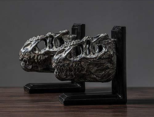 YL-adorn art Sculpture Creative Teschio di Dinosauro Bookend Statua Europea Resina Figurine Illustrazione Animale per Soggiorno Accessori Tavola di Natale Regalo di Natale Ufficio Ornamenti Bar
