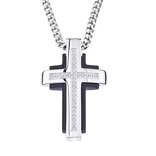 Natural Diamond Cross Pendant in Stainless Steel (0.15 carats)