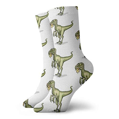 STARRY MARINA Raptor Eating Pizza Socks Slipper Socks For Women,Fun Socks 30cm/11.8Inch