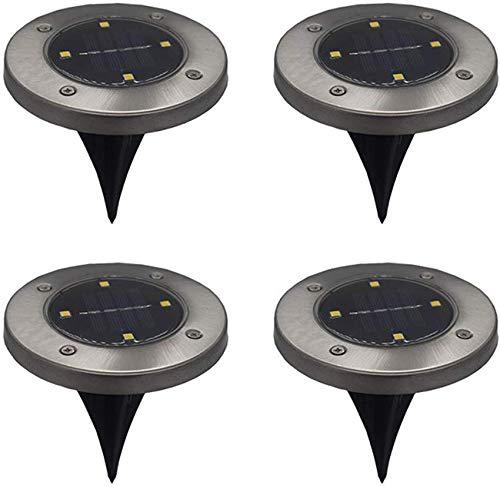 Nfudishpu Solar-Bodenleuchten 4 LEDs 4er-Pack Weiße Solarleuchten im Boden, wasserdicht für die Auffahrt zum Gartenterrassenhof, warmes Licht
