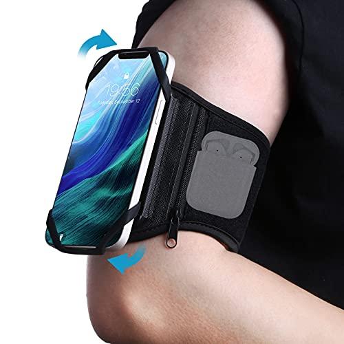 Mijobs Brazalete Deportivo, Brazalete de antebrazo Movil Transpirable con rotación de 360°y Bolsillito Auriculares Bluetooth, para iPhone 12 Pro / 12 Mini / 12/11 / XS MAX/XR, Samsung, Huawei etc.