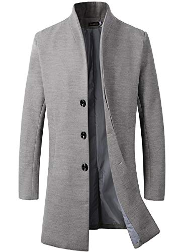 Beninos Men's Trench Coat Winter Long Jacket Button Closer Overcoat (168 Grey, L)