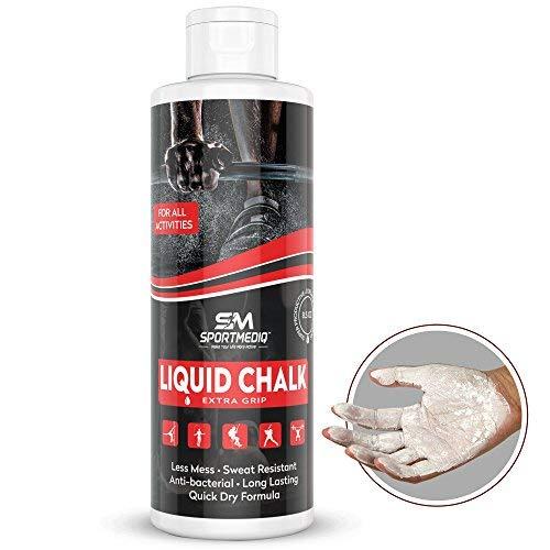 SPORTMEDIQ Pro Grade Liquid Chalk – Mess Free Professional Hand Grip for Gym, Weightlifting, Rock Climbing, Gymnastics, Rock Climbing - Dries in Seconds - 8.5 Oz