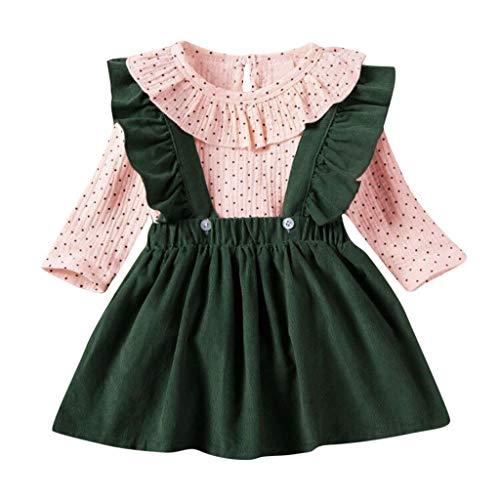 Moneycom❤Fille Revers Revers Manches Longues Couleur Pure Bretelles Jupe Bouton Costume Deux pièces Vert(3-4 Ans)
