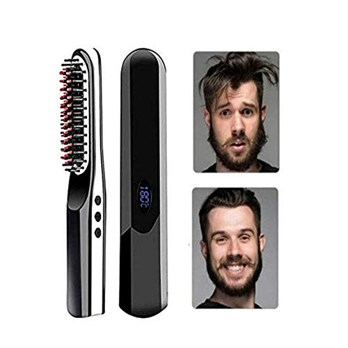 Beard Straightener Brush, USB oplaadbare Cordless Hair Straightening Brush, Ceramic Verwarming stijltang Kam, negatieve ionen tegen brandwonden (Color : Black)