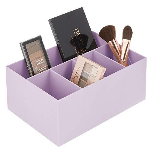 mDesign Schminkaufbewahrung für Wasch- oder Schminktische – Aufbewahrungsbox aus BPA-freiem Kunststoff für Make-up – moderner Kosmetik Organizer mit 5 Fächern – violett