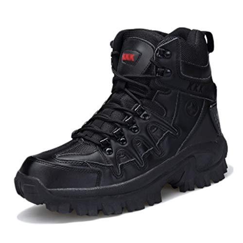 Wygwlg Bottes des Forces spéciales pour Hommes Bottes de Combat Militaires légères Bottes de randonnée de Faible Hauteur Bottes de Protection durables,Black-41