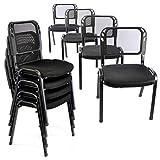 Bürostuhl 8er Set Konferenzstuhl Besucherstuhl schwarz gepolsterte Sitzfläche stapelbar 52,5 x 45...