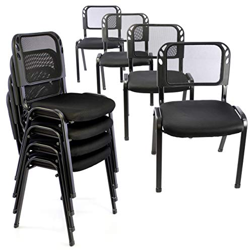 Bürostuhl 8er Set Konferenzstuhl Besucherstuhl schwarz gepolsterte Sitzfläche stapelbar 52,5 x 45 x 80 cm Stapelstuhl Metallrahmen schwarz
