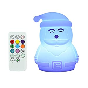 PACEFIC Soft Santa LED Night Light for Kids Teen Girls Children Squishy Nightlight Silicone Toys for Baby Nursery and Bedroom Lamp for Good Sleep