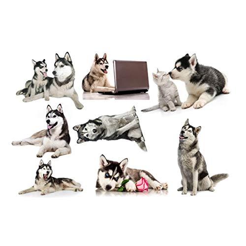 WYZNB Pet Shop - Pegatinas tridimensionales de dibujos animados de animales simulación de perro Husky pegatinas de pared para dormitorio infantil decoración de papel pintado