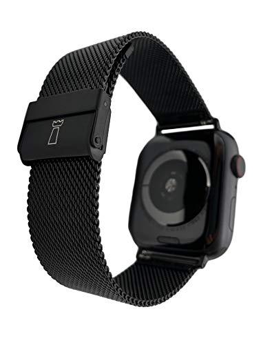 Tower Correa de Reloj milanesa de Acero Inoxidable 20 mm Negra para Apple Watch de 38 mm y 40 mm/Incl. Adaptador/también Compatible con Samsung Galaxy Watch 42mm, Active Watch 2 40mm UVM.