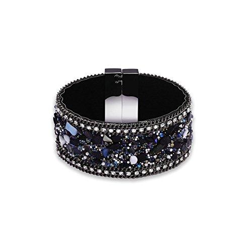 Adisaer Metalllegierung Damen Armband Armreifen Schwarz Diamant Cluster Steine Zirkonia Armbänder für Frauen Geschenk