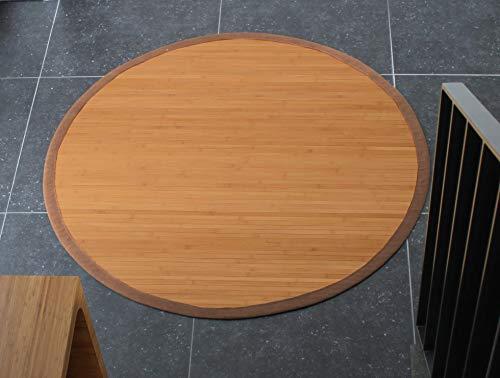 DE-COmmerce Bambusteppich Sense 95cm rund, 17mm Stege, breite Bordüre, massives Bambus   Bordürenteppich   Teppich   Bambusmatte   Wohnzimmer   Küche nachhaltig und ökologisch.