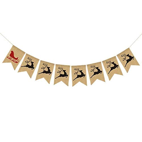 US Warehouse - Banners, Streamers & Confetti - Snowman elk Xmas Party Bunting Hanging Decor Merry Christmas Banner Paper Garland DIY New Year Christmas Tree Ornaments - (Color: A)