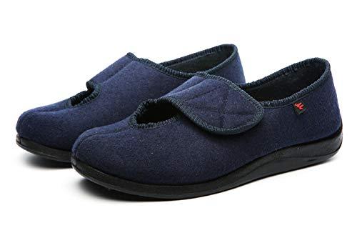 LNLJ - Pantuflas ajustables ortopédicas para pies deformados tobillos, zapatillas de pie diabéticas ajustables ampliadas, azul, 41