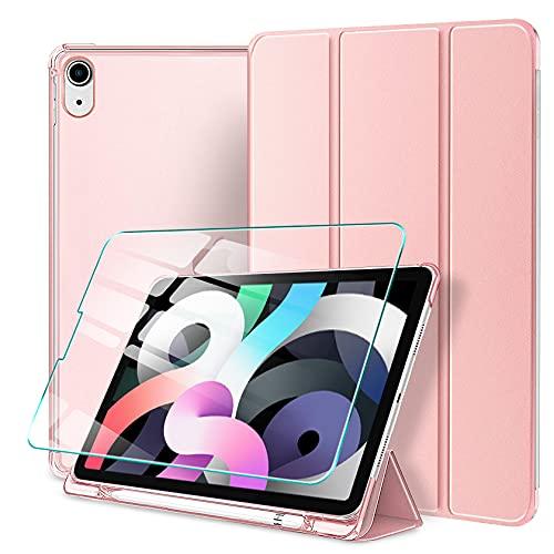 AROYI Funda Compatible con Nuevo iPad 10.9 Inch iPad Air 4ª Generación 2020 Funda y Protector Pantalla, Ultra Delgado Translúcido Smart Cover con Portalápiz y Auto Reposo/Activación Función
