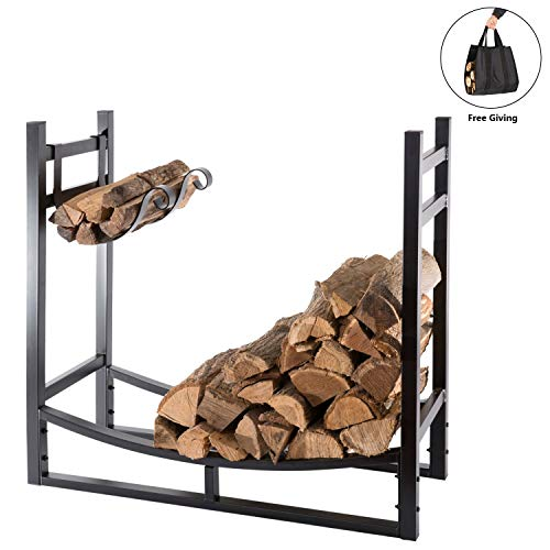 DOEWORKS Heavy Duty Firewood Racks 3 Feet Indoor/Outdoor Log Rack with Kindling Holder, 30 Inch Tall, Black