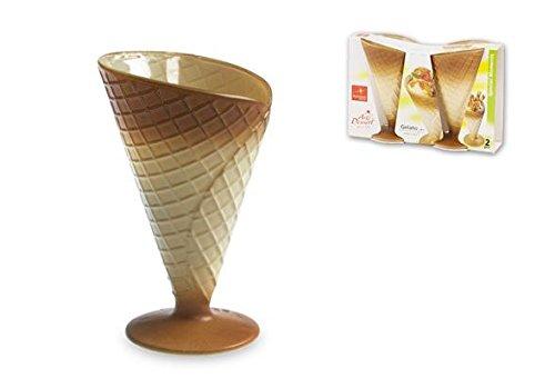 Postre Copas con un efecto de waffle cono Material Vidrio:, Resistente Ecológico spray color Fabricado en Italia. Apto para lavavajillas.