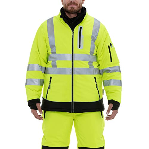RefrigiWear Men's Hivis Extreme Softshell Jacket - ANSI Class 3 High Visibility Lime with Reflective Tape (Black/Lime, Large)