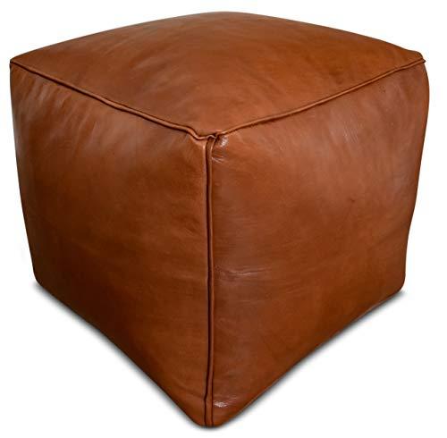 See the Good Quadratischer Leder Pouf Karamellbraun - Handgefertigt - gefüllt geliefert - Ottoman, Sitzsack, Fußhocker