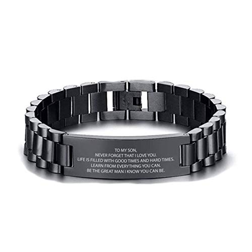 Glomixs Pulsera unisex con texto en inglés 'Don't Do Stupid Shit from Mom Black Bracelet Gift for Son Daughter for Every Day