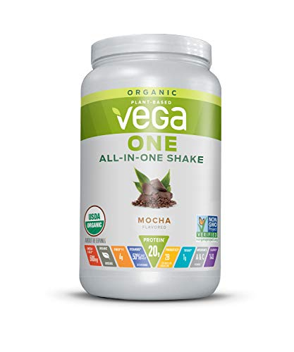 Vega One Organic Meal Replacement Plant Based Protein Powder, Mocha - Vegan, Vegetarian, Gluten Free, Dairy Free with Vitamins, Minerals, Antioxidants and Probiotics (18 Servings, 1lb 9.3oz)