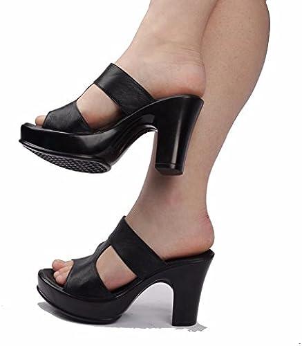 SCLOTHS été Tongs Femme Chaussures En simili cuir épais avec étanche haut talon