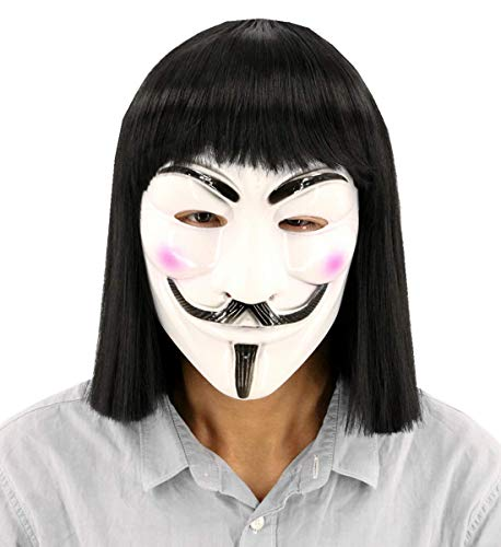 Topcosplay Unisex Hacker Anonymous Guy Fawkes Mask and Wig for V for Vendetta Mask