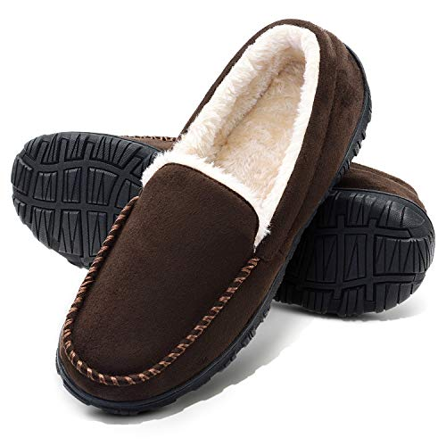 VLLY Slippers for Men Moccasin Slippers Memory Foam Indoor Outdoor Slip On with Anti-Slip Size for 14 Brown