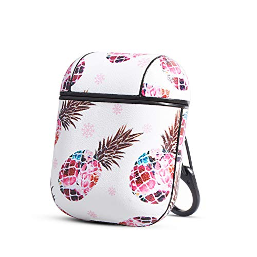 HIDAHE AirPods Case,AirPods 2 Case, AirPods Cover Cute Floral Pineapple Pattern Leather AirPod Accessories Kit Skin for Women Kid Compatiable with Apple AirPods 1st/2nd Charging Case, Pink Pineapple