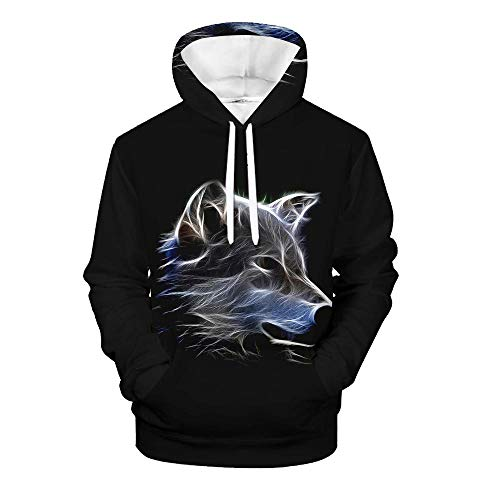Men's Pullover Hoodie 3D Print Creative Wolf Series Animal Casual Novelty Long Sleeve Hooded Sweatshirts with Pocket 12 Design XS