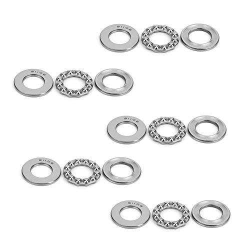 5 piezas 51102 rodamientos de bolas de arandela presión plana cojinete de bolas de empuje axial de una sola columna rodamientos de acero industriales 15x28x9mm