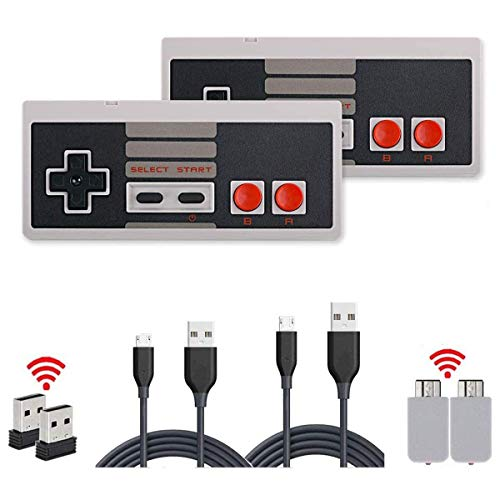 2 Pack NES Wireless Controller,HL Gloabl Wireless NES Controller 2-Packs Cordless Gamepad Controller for NES Classic Mini Edition Gaming System Console