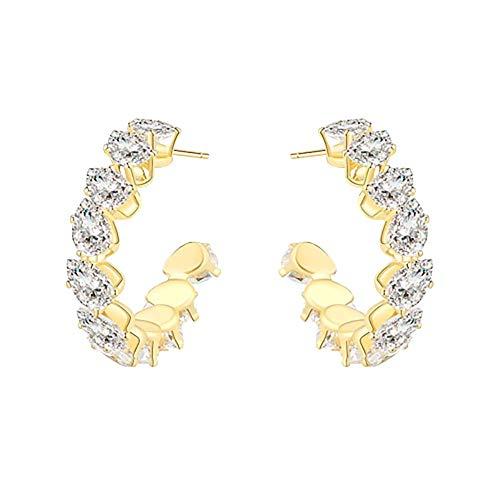 Women's Silver Hoop Earrings, 925 Silver Needles With Sparkling Rhinestone Earrings, Luxury High-end Earrings, Exaggerated Earrings