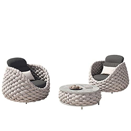 NHP Juego de sofá de Silla de ratán de Villa de Patio al Aire Libre, combinación de Muebles de ratán Impermeable y a Prueba de Sol para Exteriores