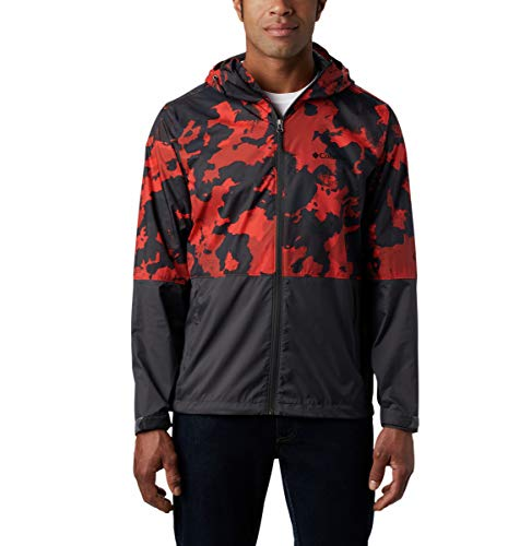 Columbia Men's Roan Mountain Jacket, Waterproof, Hooded, Carnelian Red Cloudy Clouds/Shark, Large