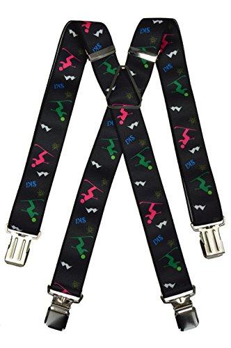 Olata Hosenträger extra starken für Skihose/Salopette mit Ski Design, für alle Altersgruppen. 5-12 Jahre, X-Form (Metall)