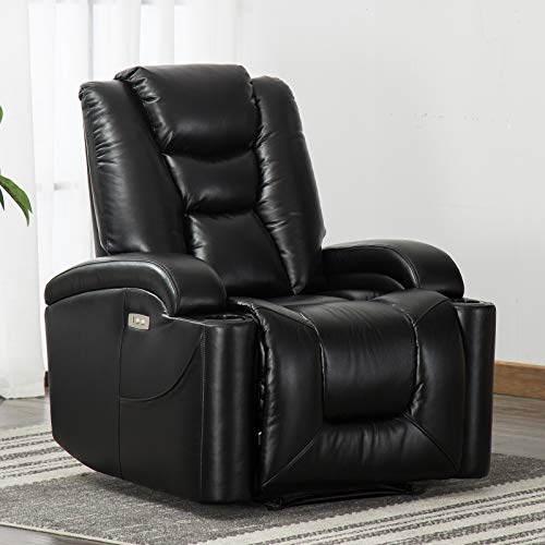 CANMOV Electric Power Recliner Chair with Cup Holders and USB Port, Breathable Bonded Leather Home Theater Seating, Black