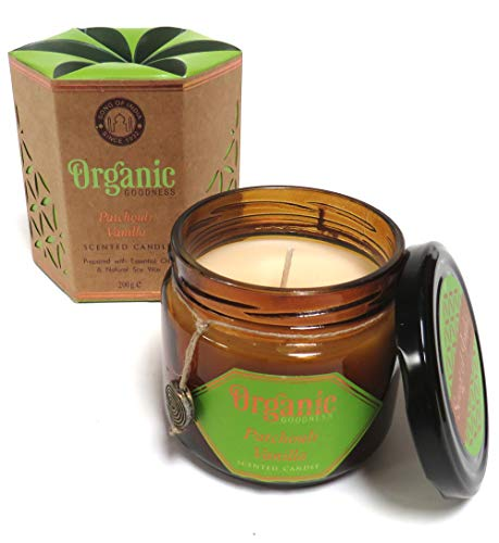 Organic Goodness Scented Soy Candle in a Glass Jar (Patchouli and Vanilla)