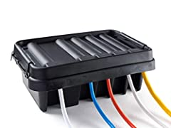 SUPERIOR ELECTRICAL SAFETY – IP55 Rated Indoor & Outdoor Waterproof Power Cord Connection Box Helps Keep All Your Home Electrical Equipment Safe & Dry PATENTED WEATHERPROOF DESIGN – Size Medium is Perfect for Protecting Power Strips, Surge Protectors...