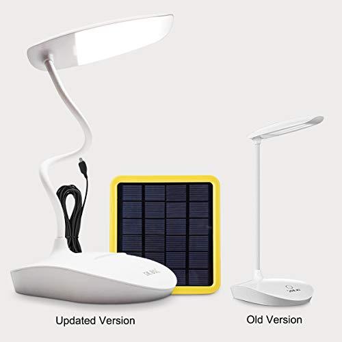 KK.BOL Lámpara de escritorio solar lámpara de mesa Led regulable de tres tiempos para leer lámparas de cama, lámparas de noche...(lámpara de escritorio solar 2000 mah)